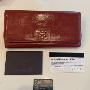 Prada leather red brown long wallet